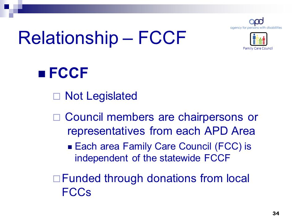 34 Relationship – FCCF FCCF  Not Legislated  Council members are chairpersons or representatives from each APD Area Each area Family Care Council (FCC) is independent of the statewide FCCF  Funded through donations from local FCCs Family Care Council
