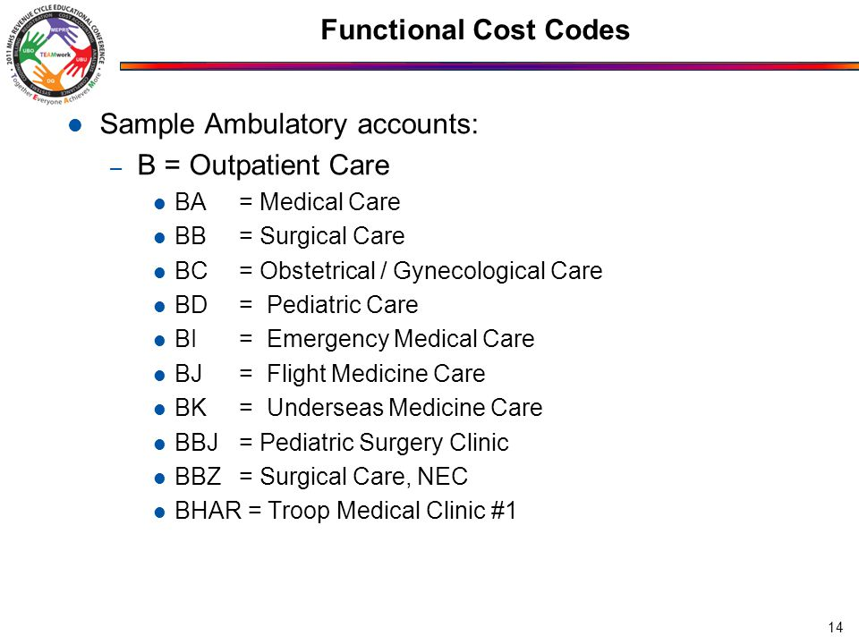 Functional Cost Codes Sample Ambulatory accounts: – B = Outpatient Care BA= Medical Care BB= Surgical Care BC= Obstetrical / Gynecological Care BD= Pe