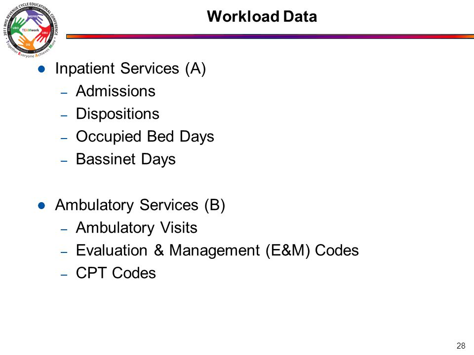 Workload Data Inpatient Services (A) – Admissions – Dispositions – Occupied Bed Days – Bassinet Days Ambulatory Services (B) – Ambulatory Visits – Evaluation & Management (E&M) Codes – CPT Codes 28