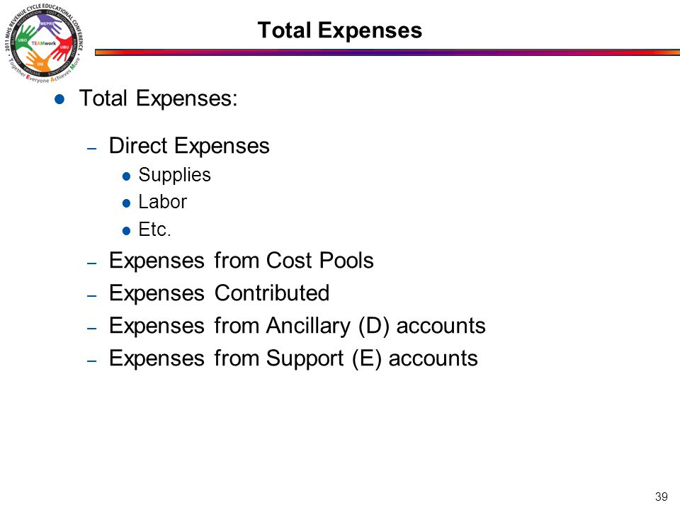 Total Expenses Total Expenses: – Direct Expenses Supplies Labor Etc. – Expenses from Cost Pools – Expenses Contributed – Expenses from Ancillary (D) a