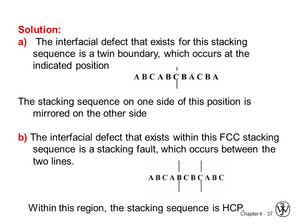 Chapter 4 - 37 Solution: a) The interfacial defect that exists for this stacking sequence is a twin boundary, which occurs at the indicated position T