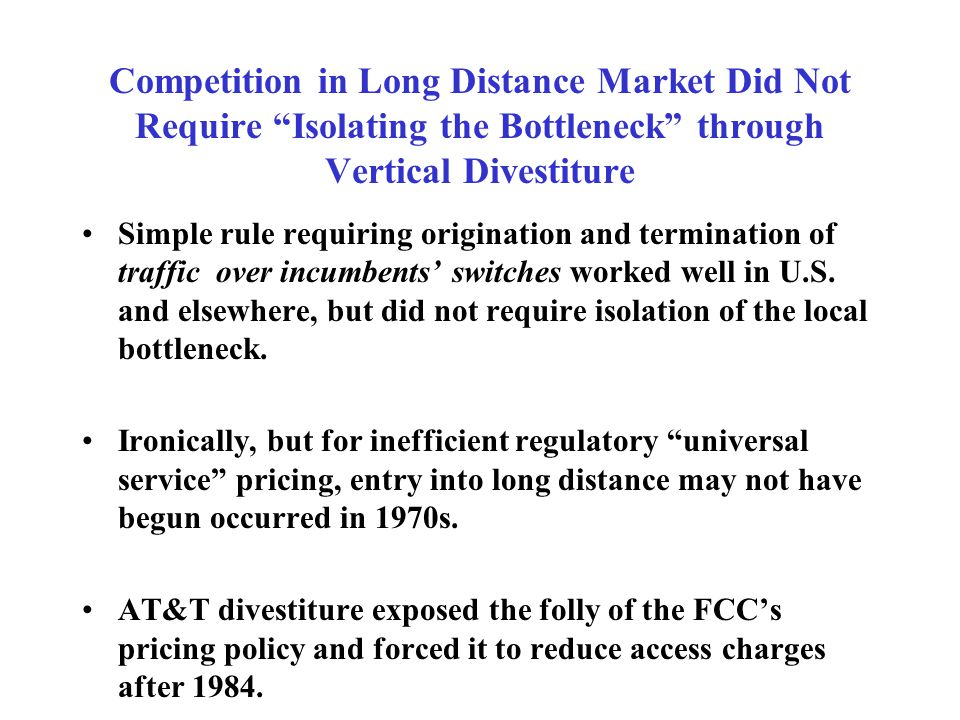 Isolating the Bottleneck Was Costly and Difficult to Administer Econometric analysis of telecom productivity suggests that adjusting to decree cost $5 billion of lost productivity in 1984-85.