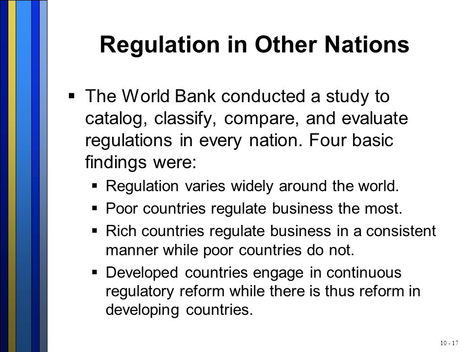 10 - 17 Regulation in Other Nations  The World Bank conducted a study to catalog, classify, compare, and evaluate regulations in every nation. Four b