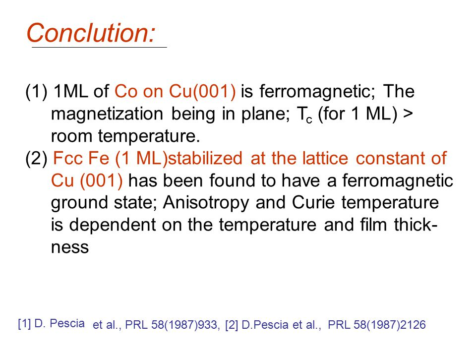 Conclution: (1) 1ML of Co on Cu(001) is ferromagnetic; The magnetization being in plane; T c (for 1 ML) > room temperature. (2) Fcc Fe (1 ML)stabilize