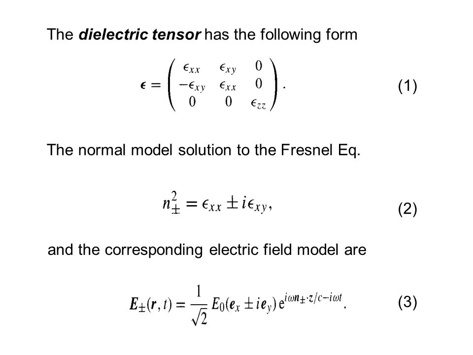 The dielectric tensor has the following form The normal model solution to the Fresnel Eq.