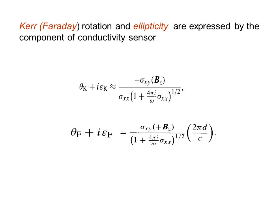 Kerr (Faraday) rotation and ellipticity are expressed by the component of conductivity sensor
