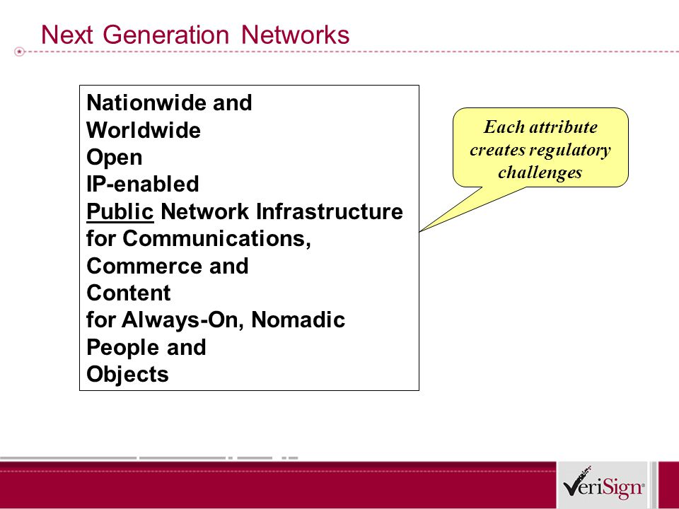 Next Generation Networks Nationwide and Worldwide Open IP-enabled Public Network Infrastructure for Communications, Commerce and Content for Always-On, Nomadic People and Objects Each attribute creates regulatory challenges