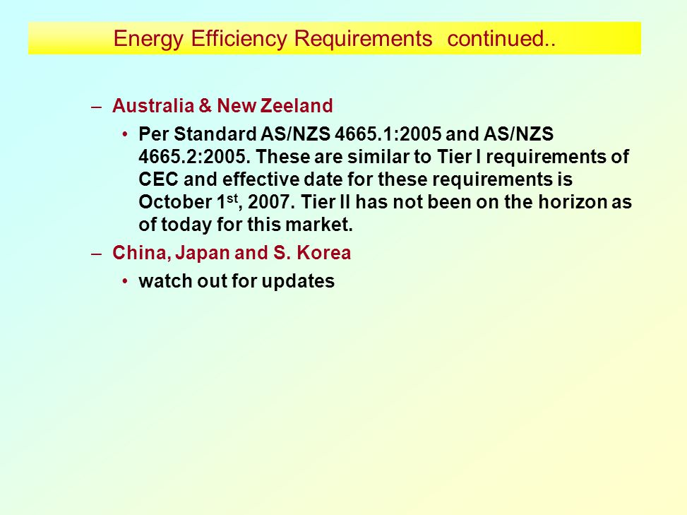 Energy Efficiency Requirements continued..