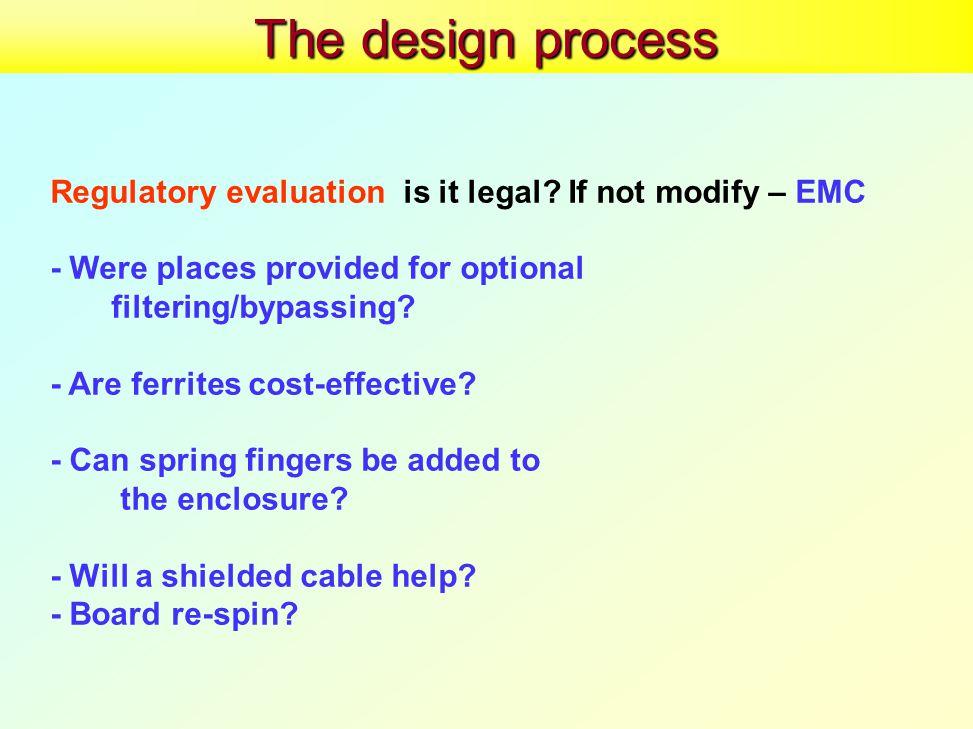 The design process Regulatory evaluationis it legal.