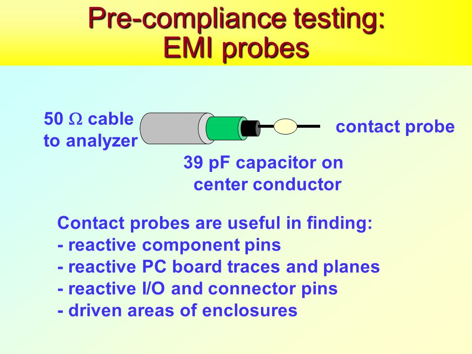 Pre-compliance testing: EMI probes 50  cable to analyzer 39 pF capacitor on center conductor contact probe Contact probes are useful in finding: - reactive component pins - reactive PC board traces and planes - reactive I/O and connector pins - driven areas of enclosures