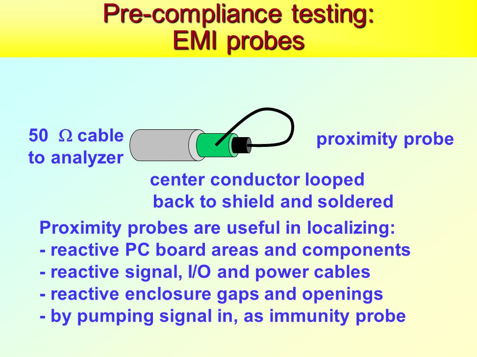 Pre-compliance testing: EMI probes proximity probe 50  cable to analyzer center conductor looped back to shield and soldered Proximity probes are useful in localizing: - reactive PC board areas and components - reactive signal, I/O and power cables - reactive enclosure gaps and openings - by pumping signal in, as immunity probe