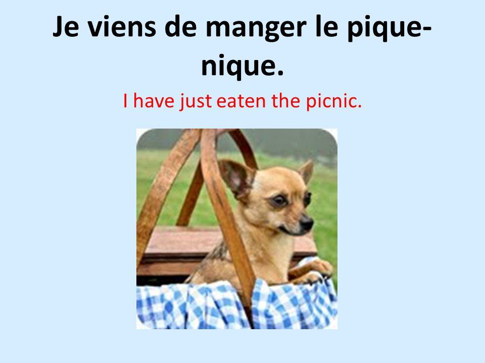 Je viens de manger le pique- nique. I have just eaten the picnic.