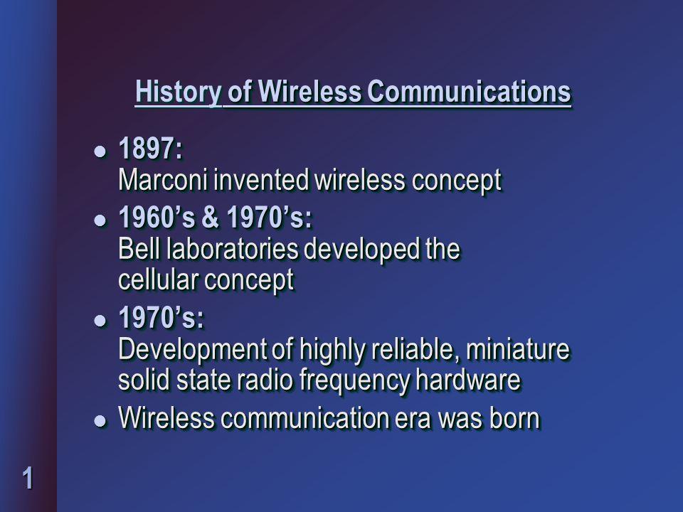 2 Evolution of wireless users l 1984- 25,000 1994- 16 million 1997- 50 million 2000- Number of wireless users = Number of wired users 2010 – 5 billion users worldwide l 1984- 25,000 1994- 16 million 1997- 50 million 2000- Number of wireless users = Number of wired users 2010 – 5 billion users worldwide