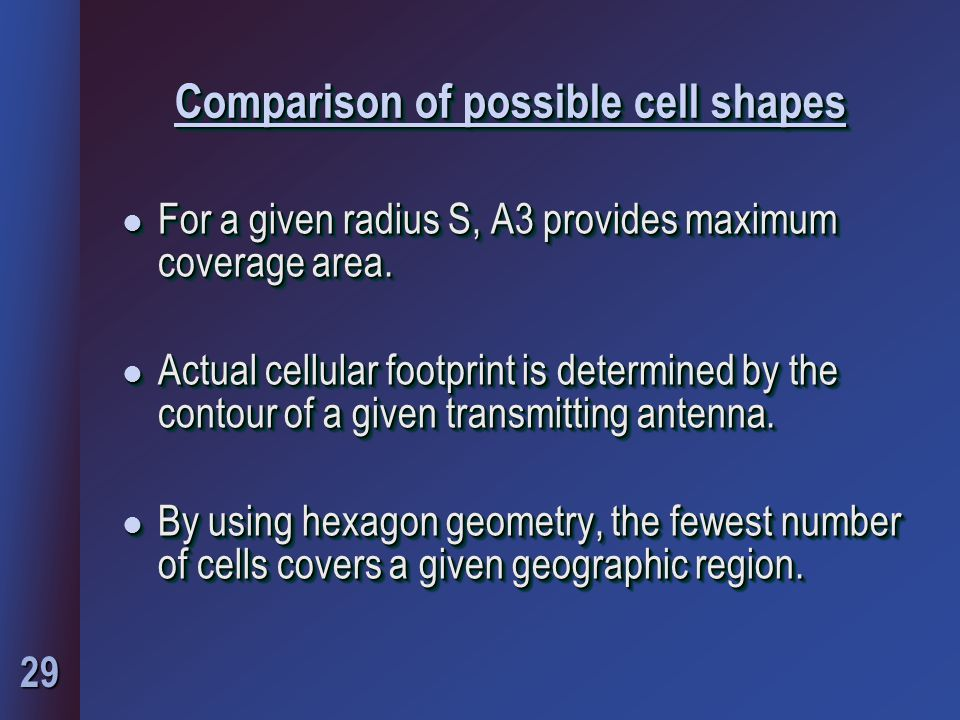 29 Comparison of possible cell shapes l For a given radius S, A3 provides maximum coverage area.