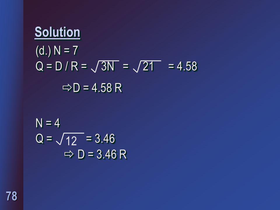 78 SolutionSolution (d.) N = 7 Q = D / R = 3N = 21 = 4.58  D = 4.58 R N = 4 Q = = 3.46  D = 3.46 R (d.) N = 7 Q = D / R = 3N = 21 = 4.58  D = 4.58 R N = 4 Q = = 3.46  D = 3.46 R 12