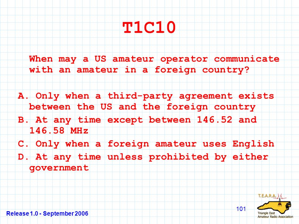 Release 1.0 - September 2006 101 T1C10 When may a US amateur operator communicate with an amateur in a foreign country.