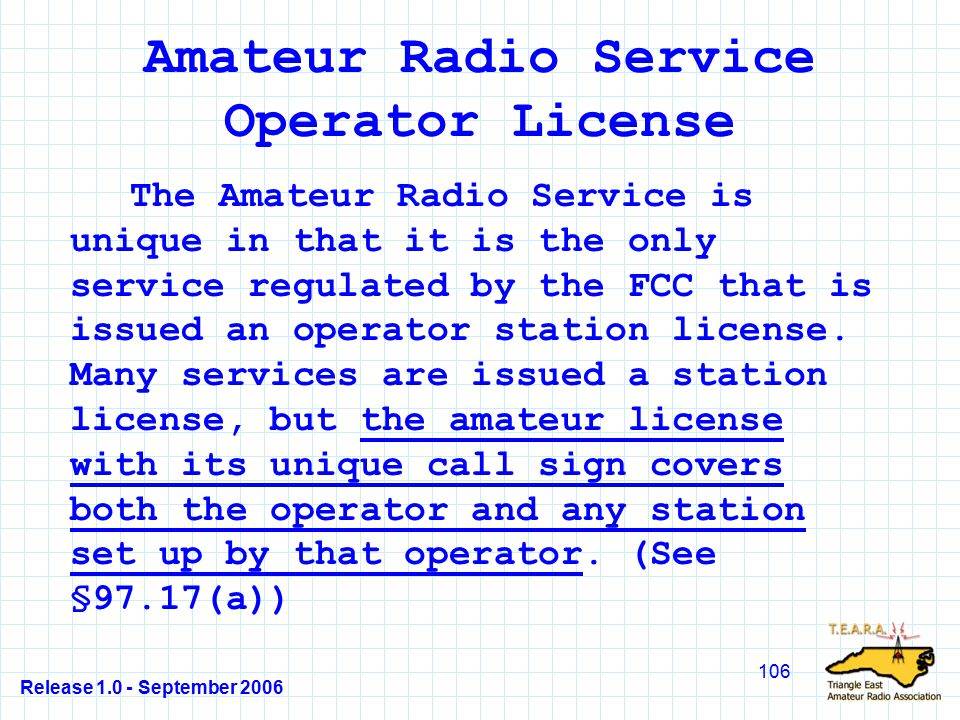 Release 1.0 - September 2006 106 Amateur Radio Service Operator License The Amateur Radio Service is unique in that it is the only service regulated by the FCC that is issued an operator station license.
