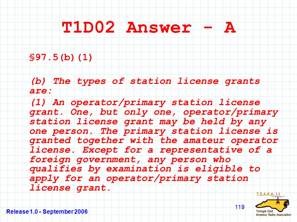Release 1.0 - September 2006 119 T1D02 Answer - A §97.5(b)(1) (b) The types of station license grants are: (1) An operator/primary station license grant.