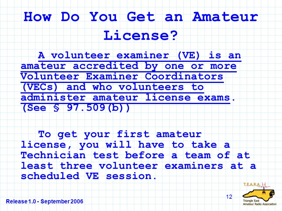 Release 1.0 - September 2006 12 How Do You Get an Amateur License.