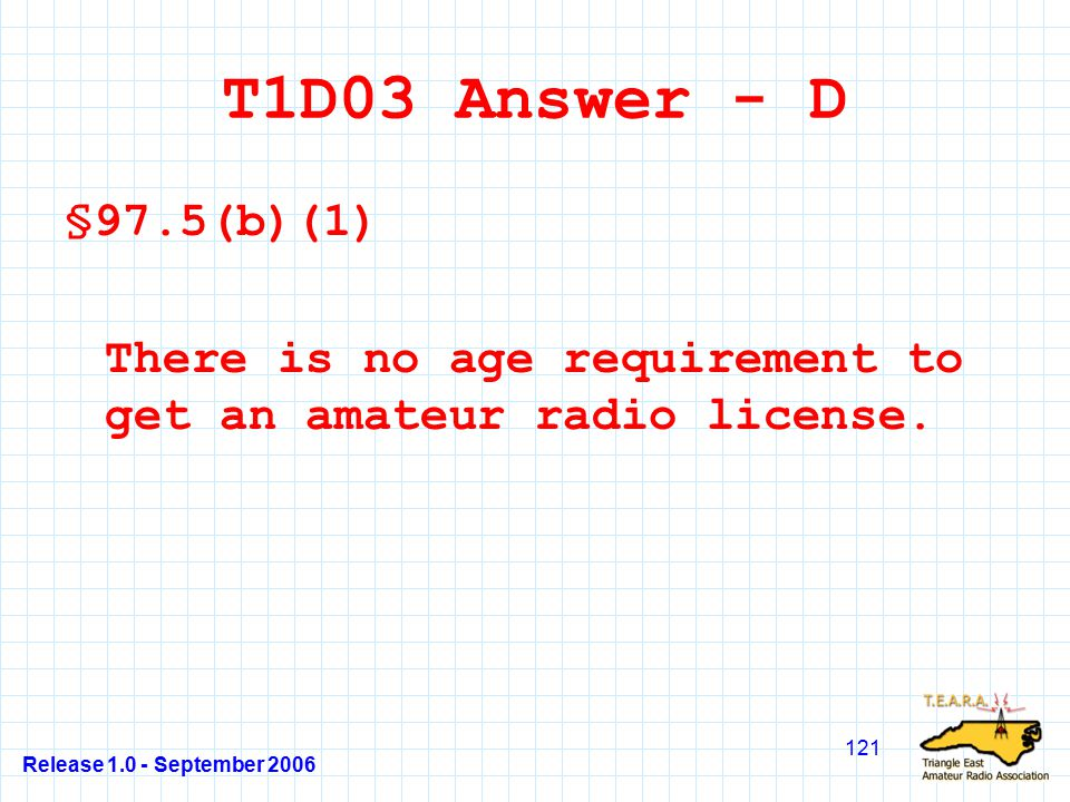 Release 1.0 - September 2006 121 T1D03 Answer - D §97.5(b)(1) There is no age requirement to get an amateur radio license.