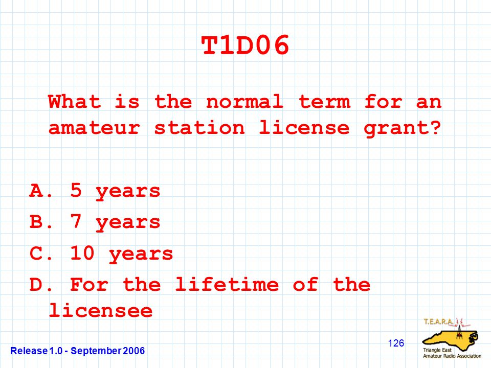 Release 1.0 - September 2006 126 T1D06 What is the normal term for an amateur station license grant.