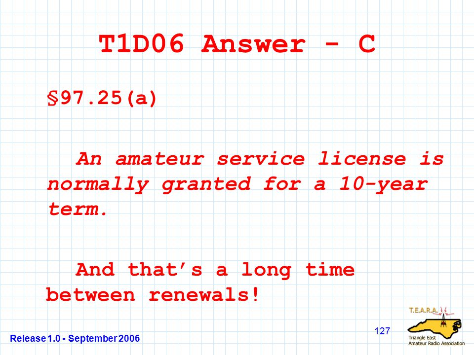 Release 1.0 - September 2006 127 T1D06 Answer - C §97.25(a) An amateur service license is normally granted for a 10-year term.