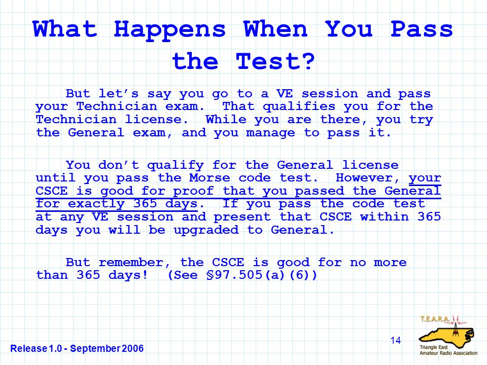 Release 1.0 - September 2006 14 What Happens When You Pass the Test.