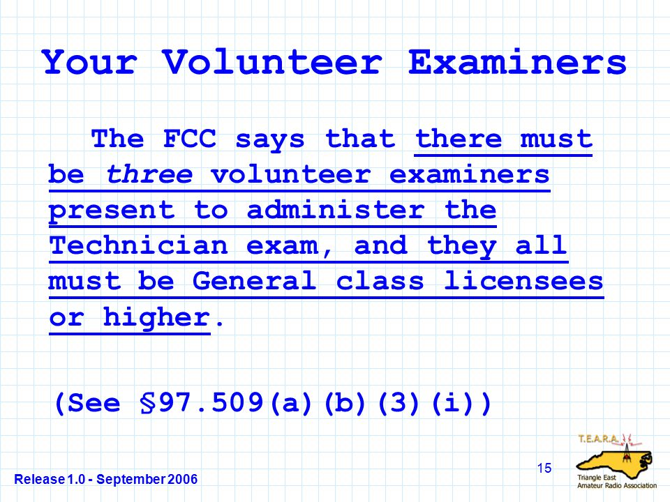 Release 1.0 - September 2006 15 Your Volunteer Examiners The FCC says that there must be three volunteer examiners present to administer the Technician exam, and they all must be General class licensees or higher.