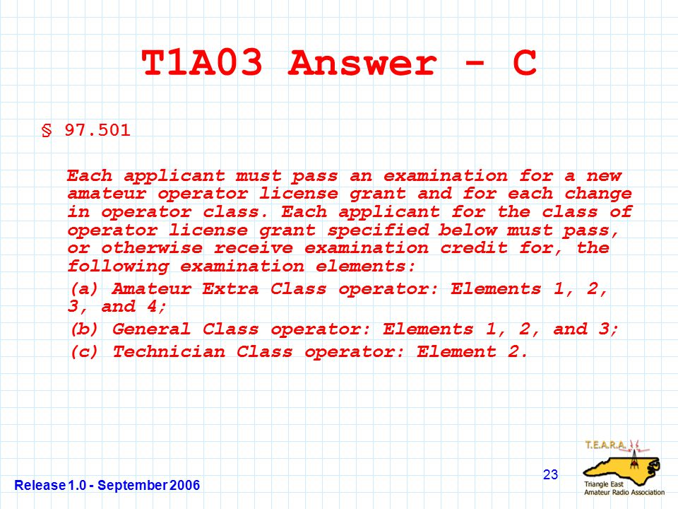Release 1.0 - September 2006 23 T1A03 Answer - C § 97.501 Each applicant must pass an examination for a new amateur operator license grant and for each change in operator class.