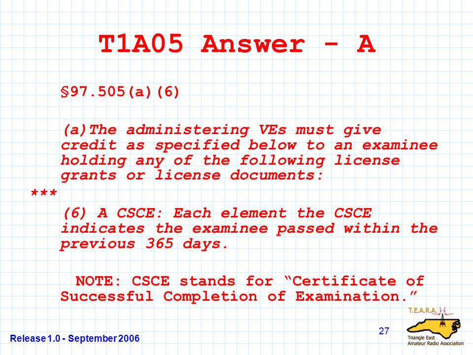 Release 1.0 - September 2006 27 T1A05 Answer - A §97.505(a)(6) (a)The administering VEs must give credit as specified below to an examinee holding any of the following license grants or license documents: *** (6) A CSCE: Each element the CSCE indicates the examinee passed within the previous 365 days.