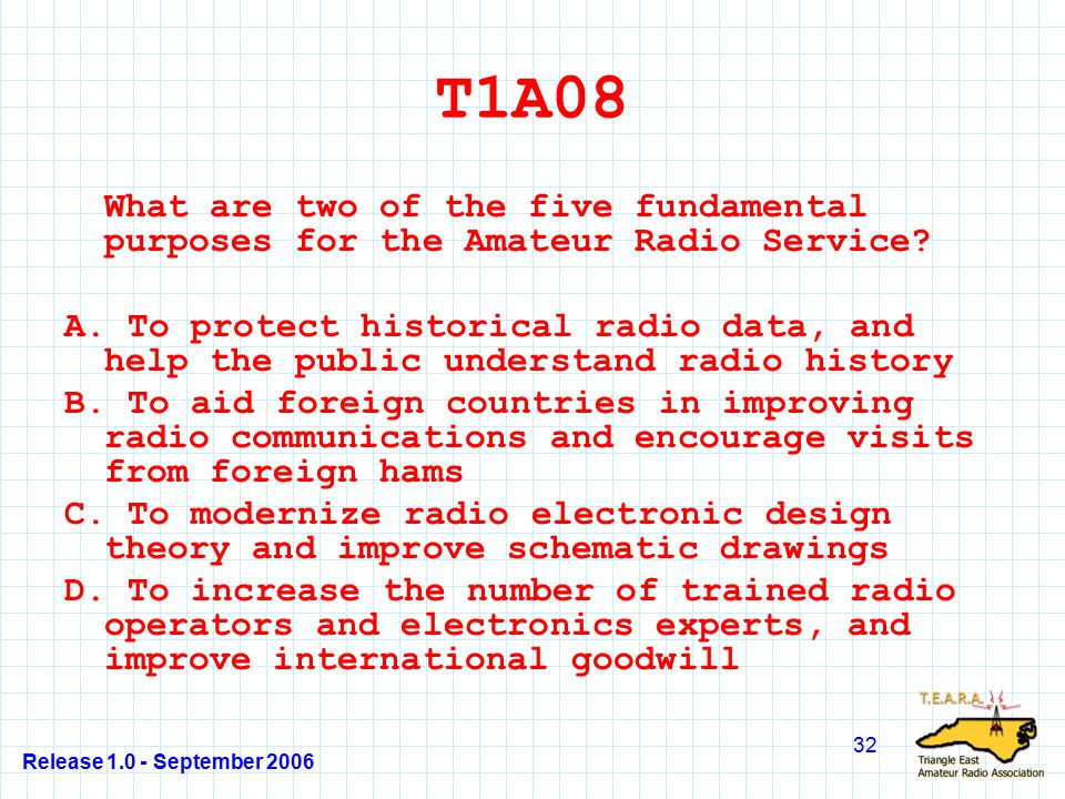 Release 1.0 - September 2006 32 T1A08 What are two of the five fundamental purposes for the Amateur Radio Service.