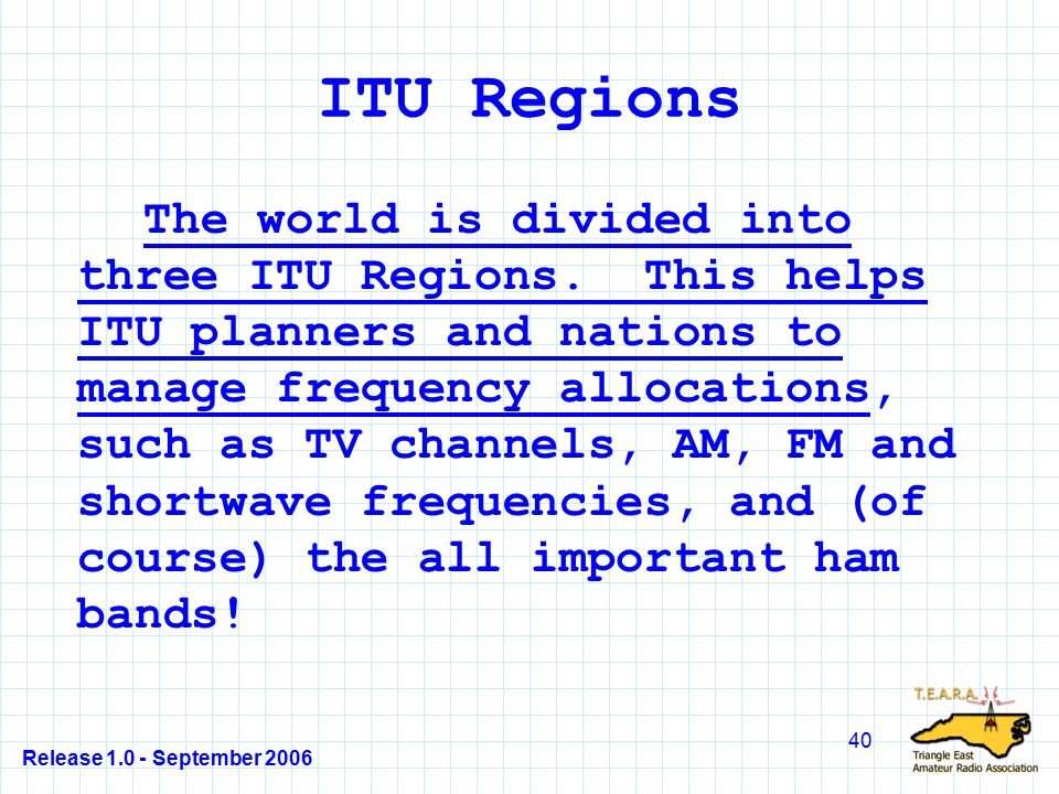 Release 1.0 - September 2006 40 ITU Regions The world is divided into three ITU Regions.