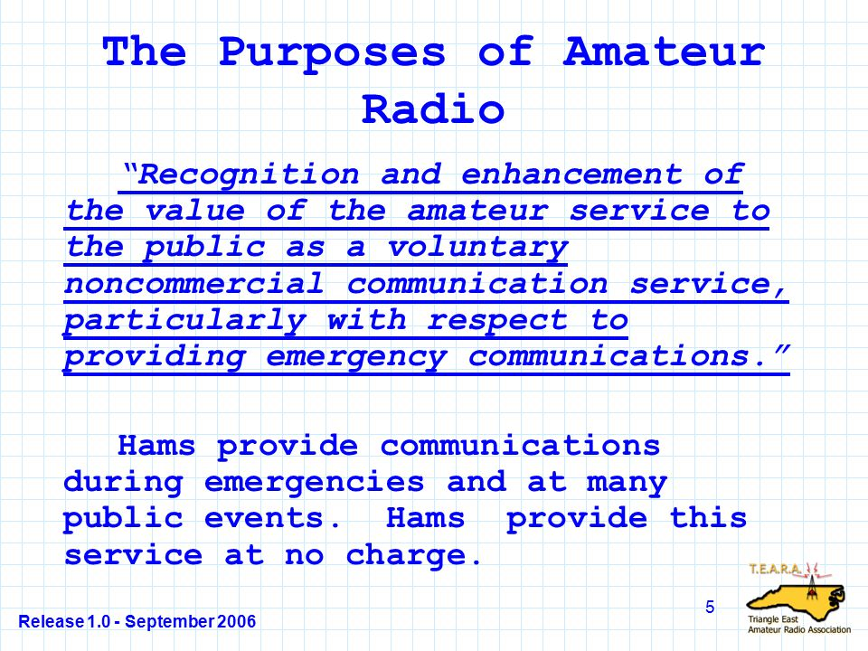 Release 1.0 - September 2006 86 T1C02 Answer - B §97.5(a) The answer to this question is not particularly clear from a reading of the rule, but essentially, your license allows you to operate anywhere the FCC has jurisdiction or in any country that has a reciprocal agreement with the U.S.