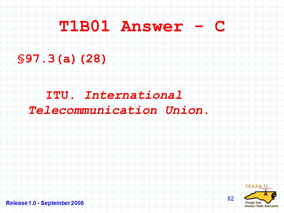 Release 1.0 - September 2006 52 T1B01 Answer - C §97.3(a)(28) ITU.