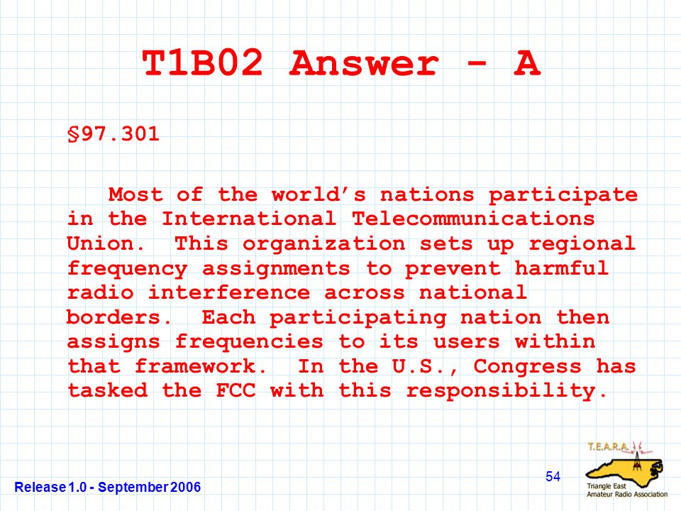 Release 1.0 - September 2006 54 T1B02 Answer - A §97.301 Most of the world's nations participate in the International Telecommunications Union.
