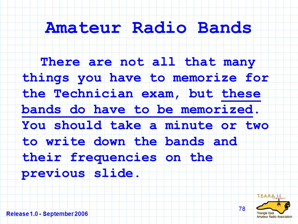 Release 1.0 - September 2006 78 Amateur Radio Bands There are not all that many things you have to memorize for the Technician exam, but these bands do have to be memorized.
