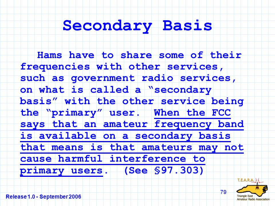 Release 1.0 - September 2006 79 Secondary Basis Hams have to share some of their frequencies with other services, such as government radio services, on what is called a secondary basis with the other service being the primary user.