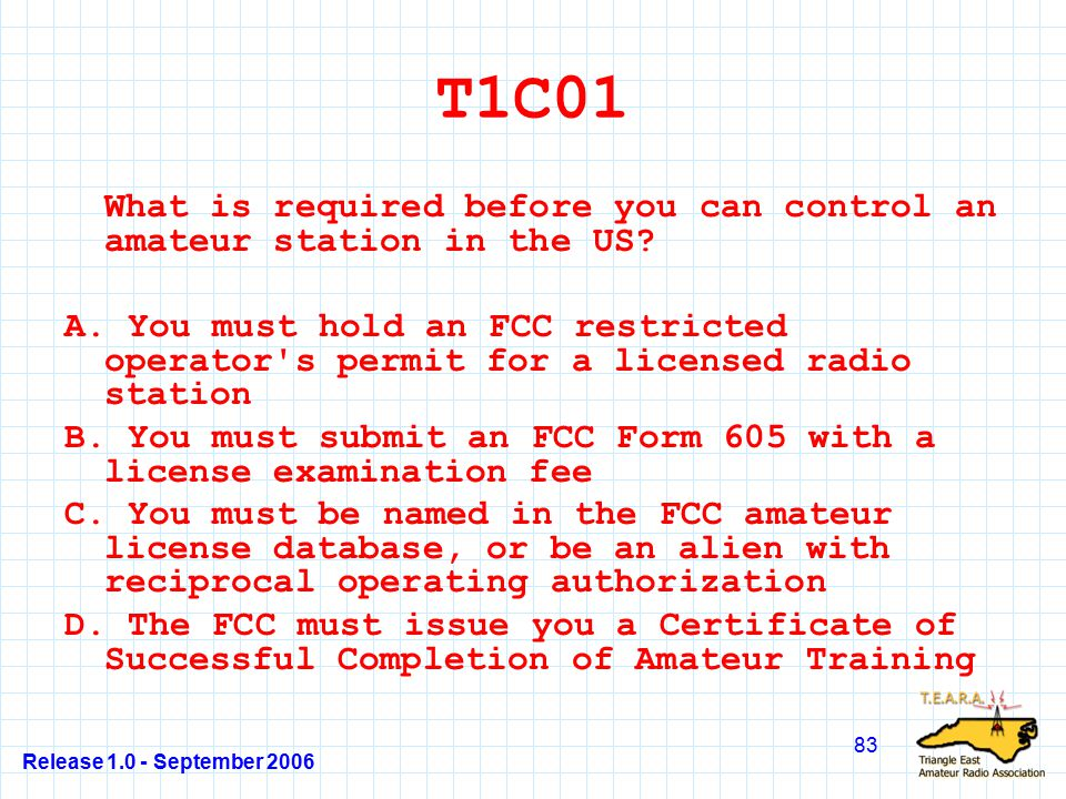 Release 1.0 - September 2006 83 T1C01 What is required before you can control an amateur station in the US.