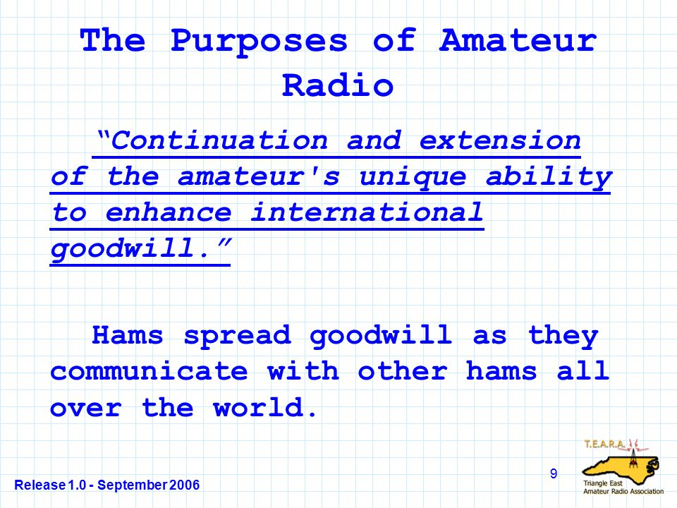Release 1.0 - September 2006 30 T1A07 Who makes and enforces the rules for the Amateur Radio Service in the United States.