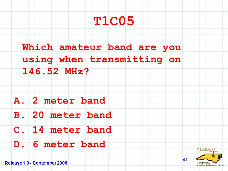Release 1.0 - September 2006 91 T1C05 Which amateur band are you using when transmitting on 146.52 MHz.