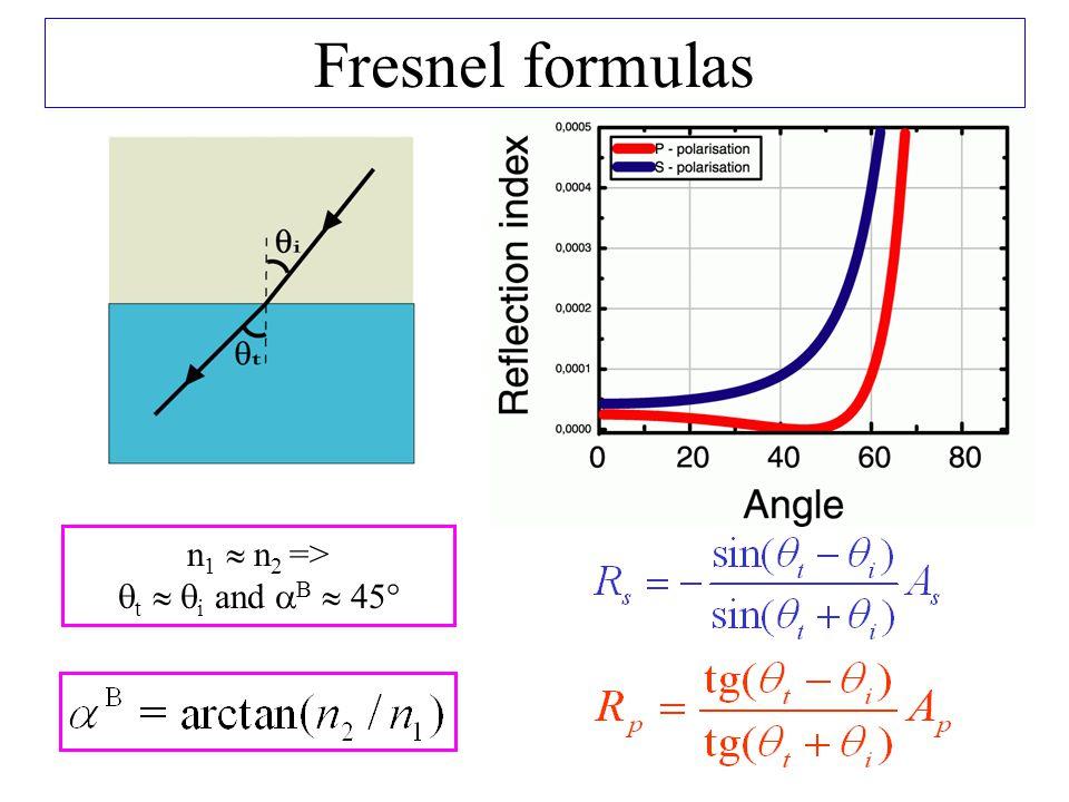 n 1  n 2 =>  t   i and  B  45° Fresnel formulas