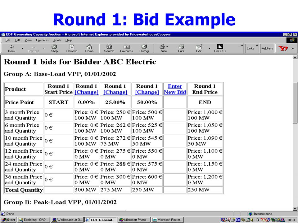 8 Round 1: Bid Example