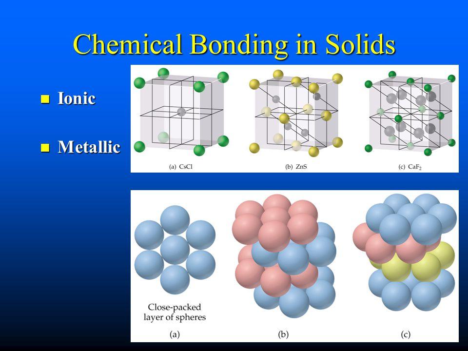 Chemical Bonding in Solids Ionic Ionic Metallic Metallic