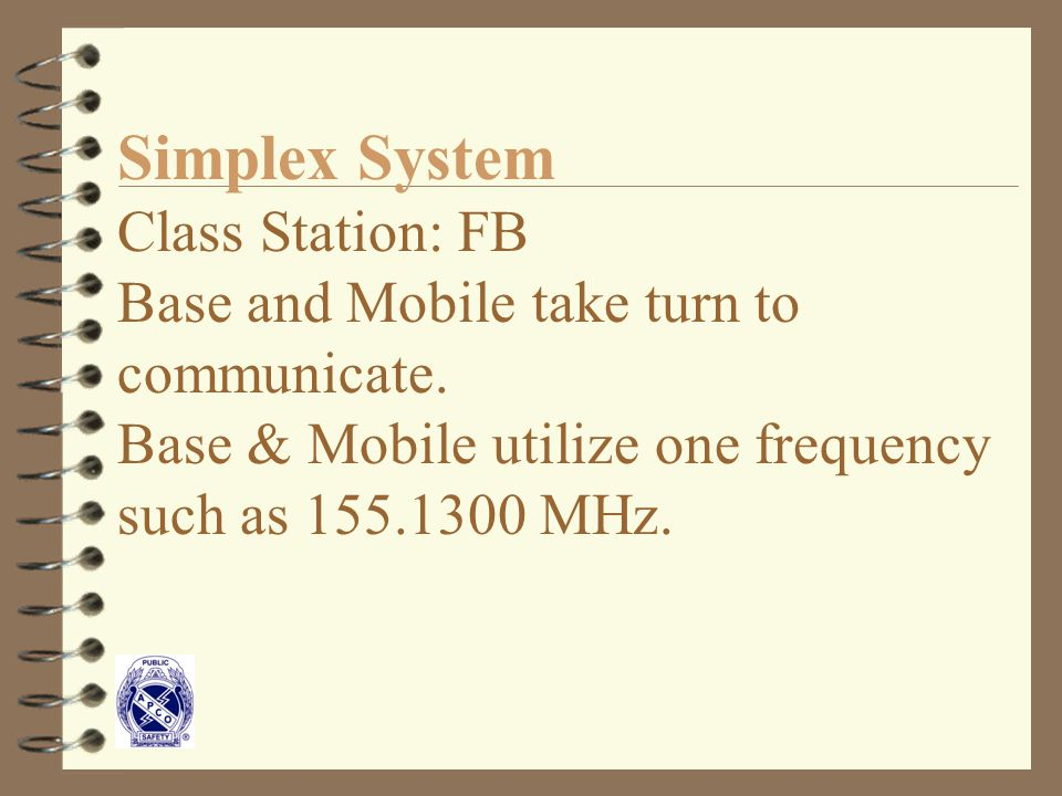 Simplex System Class Station: FB Base and Mobile take turn to communicate.