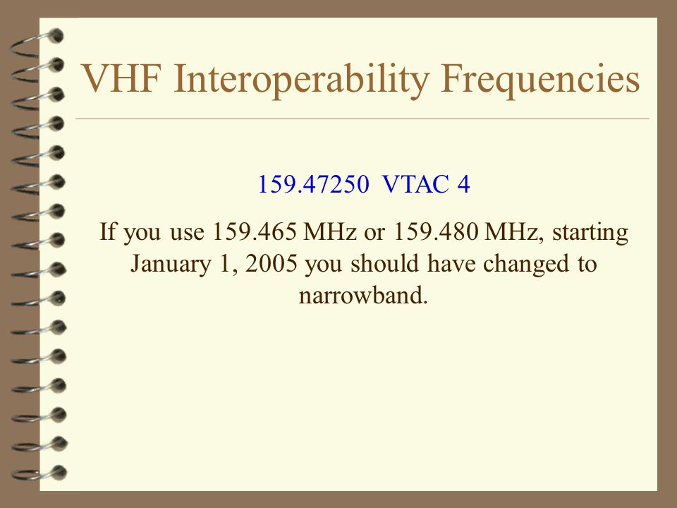VHF Interoperability Frequencies 159.47250 VTAC 4 If you use 159.465 MHz or 159.480 MHz, starting January 1, 2005 you should have changed to narrowband.