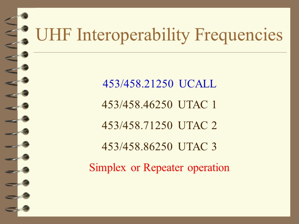 UHF Interoperability Frequencies 453/458.21250 UCALL 453/458.46250 UTAC 1 453/458.71250 UTAC 2 453/458.86250 UTAC 3 Simplex or Repeater operation