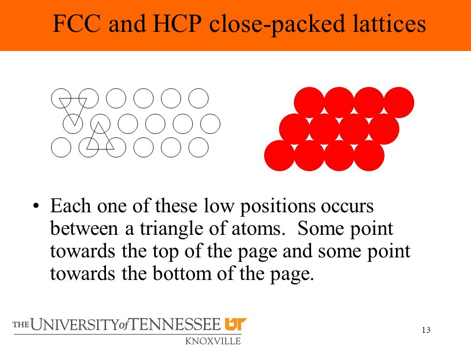 13 FCC and HCP close-packed lattices Each one of these low positions occurs between a triangle of atoms.