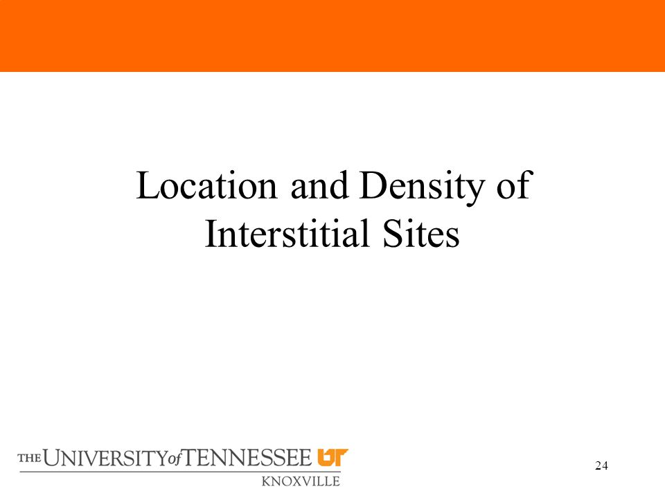 24 Location and Density of Interstitial Sites