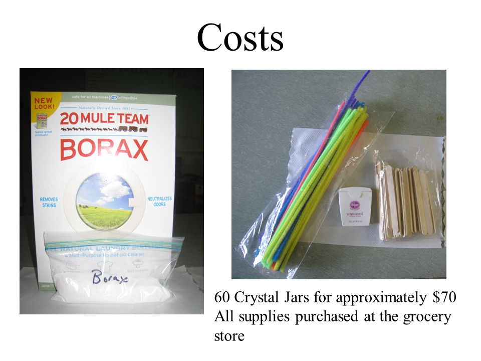 Costs 60 Crystal Jars for approximately $70 All supplies purchased at the grocery store