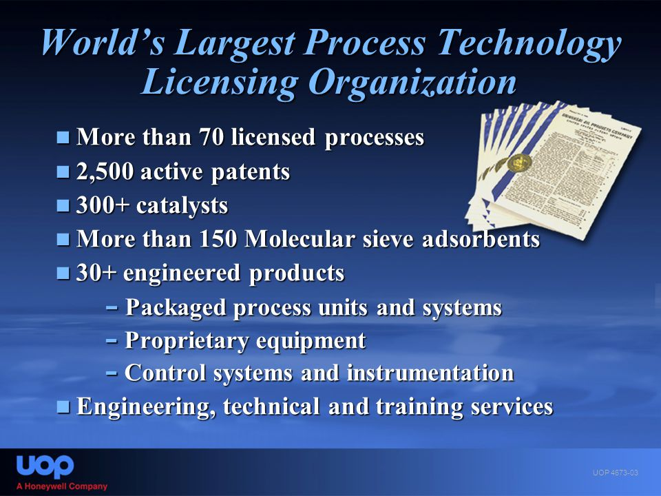 World's Largest Process Technology Licensing Organization More than 70 licensed processes More than 70 licensed processes 2,500 active patents 2,500 a
